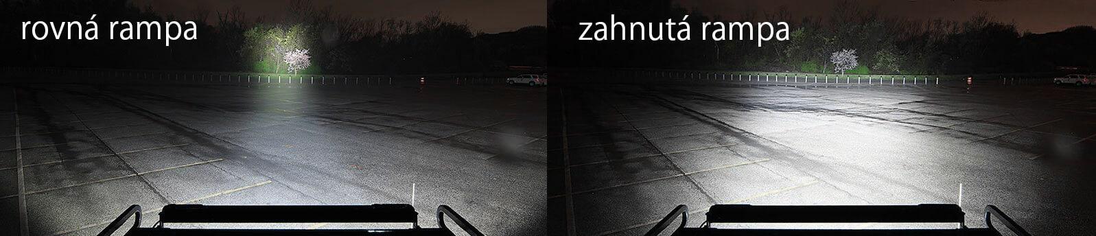 Srovnání rovné LED rampy a zahnuté rampy